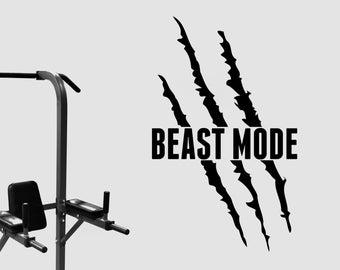 Beast Mode Wall Decal Inspirational Vinyl Sticker Motivational Art Sports Decorations Gym Fitness Club Studio Bodybuilding Center Decor fgm3