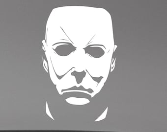 Michael Myers Face Wall Decal Halloween Movie Vinyl Sticker Friday the 13th Scary Art Horror Decorations for Home Room Bedroom Decor mmh1