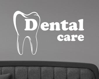 Dental Care Logo Vinyl Sticker Stomatology Sign Window Decal Healthcare Wall Art Decorations for Office Dentist Cabinet Medical Decor dl3