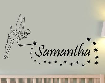 Custom Name Tinker Bell Wall Decal Personalized Disney Peter Pan Vinyl Sticker Fairy Art Decorations for Home Girls Room Fantasy Decor tb1