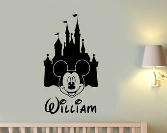 Personalized Disney Castle Wall Decal Mickey Mouse Custom Name Vinyl Sticker Cartoon Art Decorations for Home Boys Room Nursery Decor mmc2