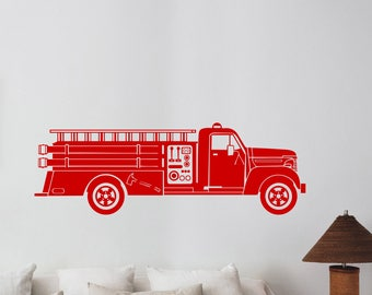 Fire Truck Wall Decal Vehicle Car Fire Engine Vinyl Sticker Firefighter Art Transportation Decorations for Home Room Bedroom Decor ft1