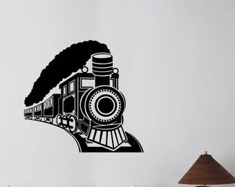 Vintage Train Wall Art Decal Locomotive Sticker Retro Travel Steam Train Decorations for Home Kids Room Bedroom Transportation Decor lt2
