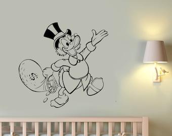 Scrooge McDuck Wall Decal Duck Tales Vinyl Sticker Vintage Cartoon Art Disney Character Decorations for Home Kids Boys Room Comic Decor smc1