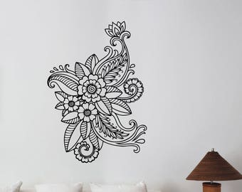 Mehndi Wall Decal Henna Paisley Flowers Vinyl Sticker Floral Pattern Ornament Art Decorations for Home Room Bedroom Indian Decor mh1