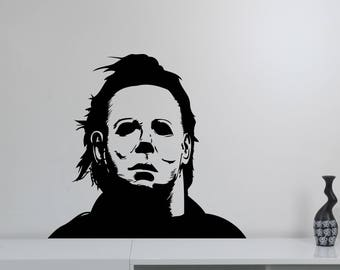 Michael Myers Wall Sticker Halloween Movie Vinyl Decal Friday the 13th Scary Art Horror Decorations for Home Room Bedroom Decor mmh2