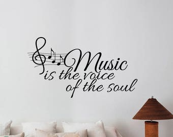 Music Is The Voice of The Soul Wall Saying Decal Treble Notes Inspirational Quote Sticker Vinyl Lettering Decorations for Home Room Decor m5
