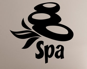 Spa Sign Vinyl Decal Window Sticker Massage Therapy Health Beauty Salon Wall Decorations Bathroom Room Sign Mirror Decor spas4