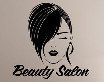 Beauty Salon Logo Wall Decal Vinyl Sticker Make Up Styling Woman Face Art Decorations Beauty Parlor Shop Window Mirror Decor beauty1