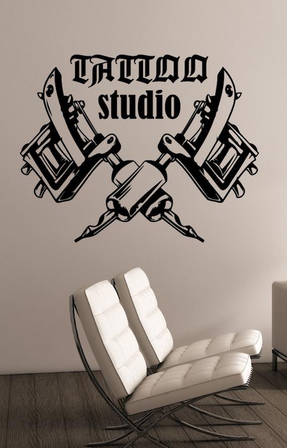 Tattoo Studio Logo Wall Decal Tattoo Machines Vinyl Sticker   Etsy