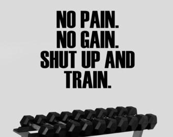 Fitness Wall Sticker No Pain No Gain Motivational Decal Inspirational Vinyl Art Decorations for Gym Center Bodybuilding Club Decor fgm16