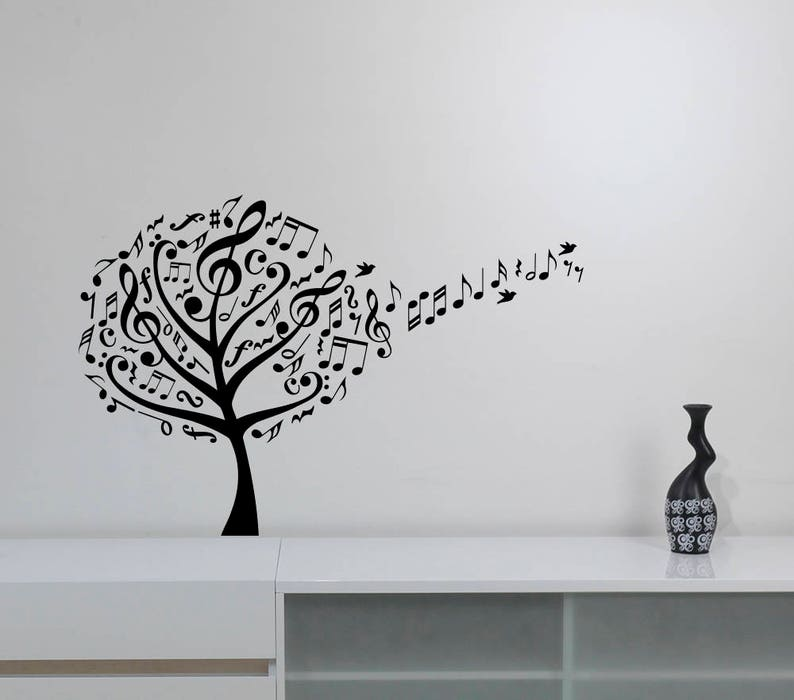 780bef2f0a6 Music Tree Wall Decal Birds Music Notes Treble Clef Vinyl