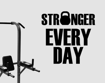 Stronger Every Day Quote Vinyl Wall Sticker Fitness Motivational Decal Inspirational Art Decorations Gym Club Center Studio Decor fgm10