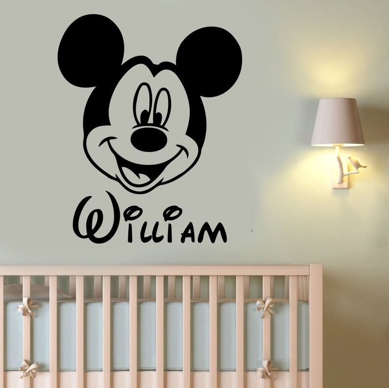 . Custom Name Mickey Mouse Wall Decal Personalized Sticker Disney Cartoon Art  Decorations for Home Kids Boys Baby Room Nursery Decor mimo16