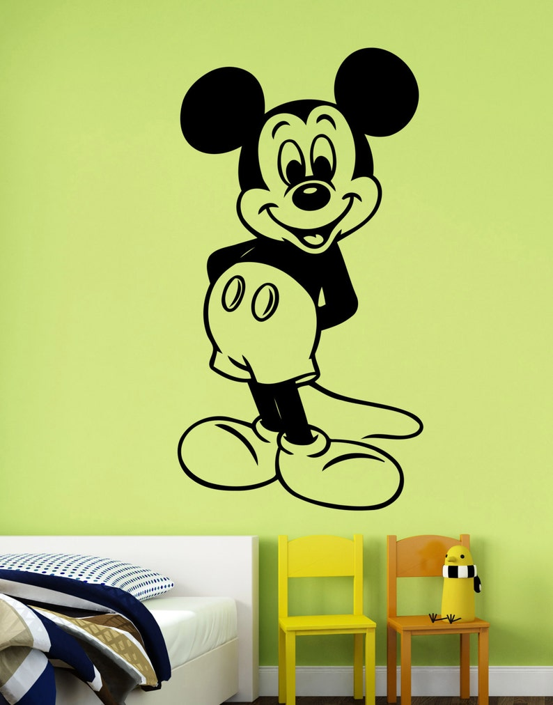 . Mickey Mouse Wall Decal Vinyl Sticker Disney Cartoon Art Decorations for  Home Kids Boys Baby Room Bedroom Nursery Removable Decor mimo2