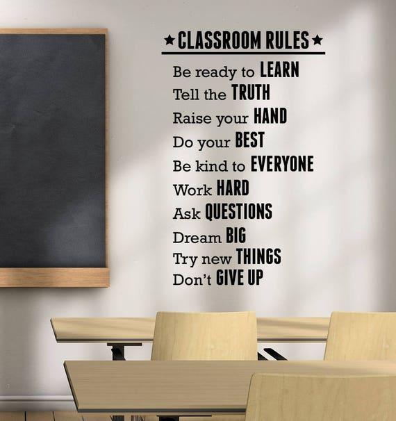Klassenzimmer Regeln Aufkleber Vinyl-Schriftzug Studie Bildung | Etsy