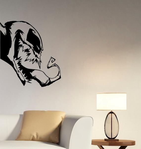 Venom Head Wall Decal Marvel Comics Superhero Vinyl Sticker Spiderman Comic  Book Art Decorations for Home Kids Boys Room Bedroom Decor vm1