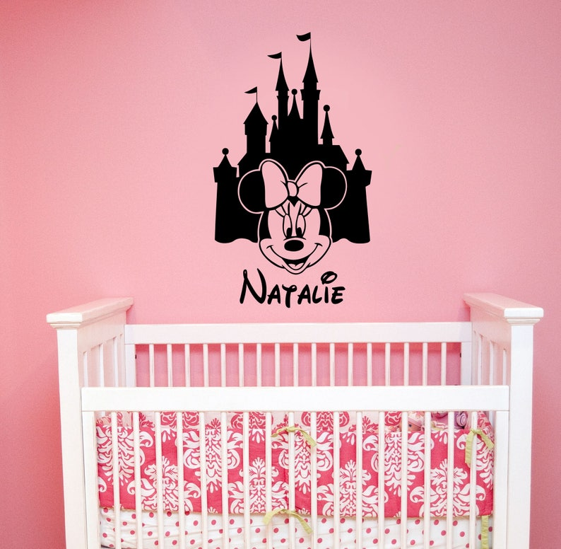 personalized disney castle wall decal minnie mouse custom name | etsy