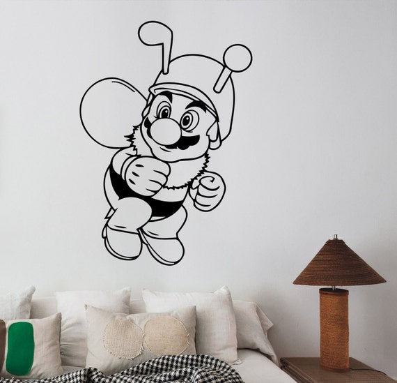 Super Mario Wall Decal Vinyl Sticker Cartoon Art Decorations Etsy