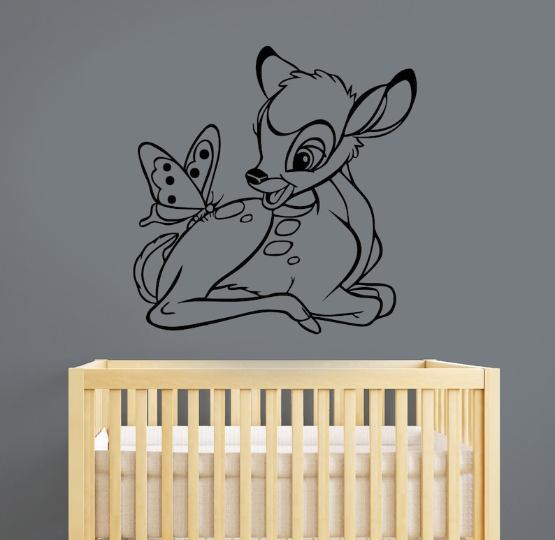 bambi wall decal removable vinyl sticker cartoon deer art   etsy
