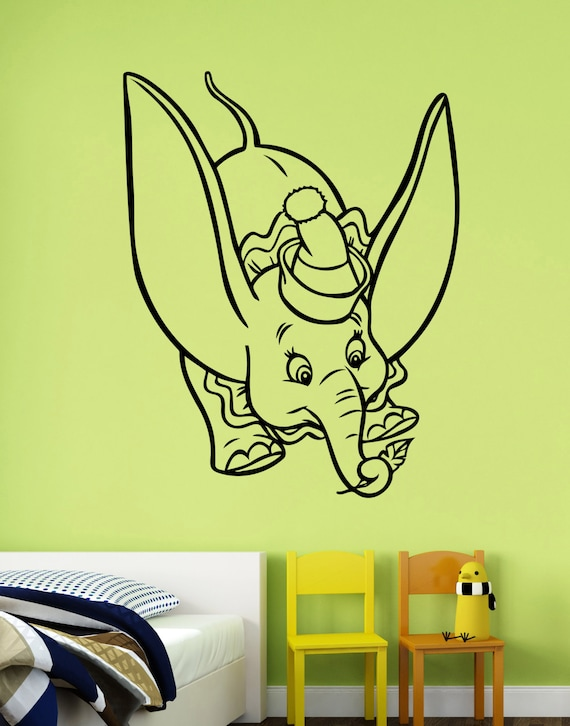 dumbo wall decal vinyl sticker disney movie art decorations | etsy