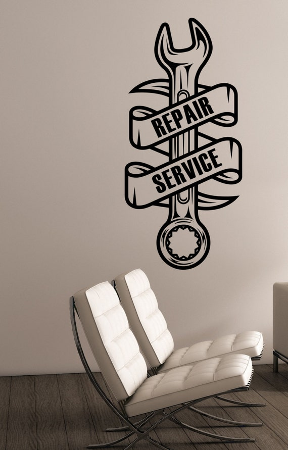 repair service logo vinyl wall decal custom sticker auto car | etsy