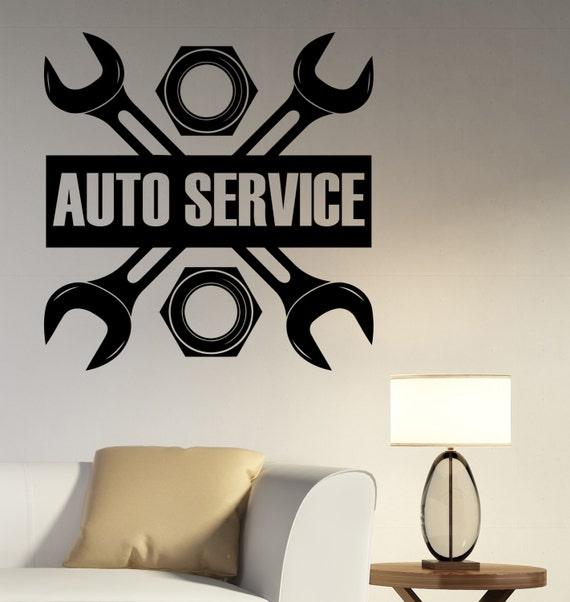 auto service logo wall decal custom vinyl sticker repair car | etsy