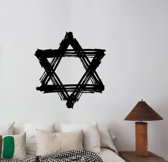 Grunge Davidster Muur Sticker Jodendom Israel Teken Vinyl Decal Joodse Nationale Symbool Art Decoratie Voor Home Room Slaapkamer Decor Ds3