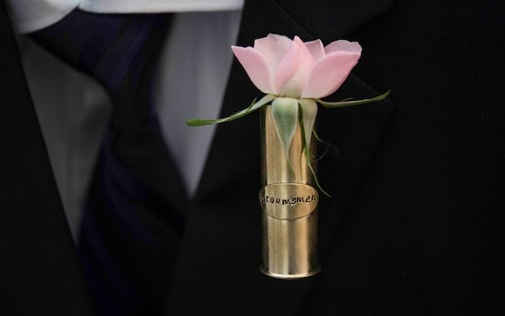 Personalized Shotgun Shell Lapel Pin Vase Personalized Etsy