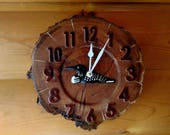 Loon Wood Slice Clock - Oak - 10 quot Ø, Tree Slice Art