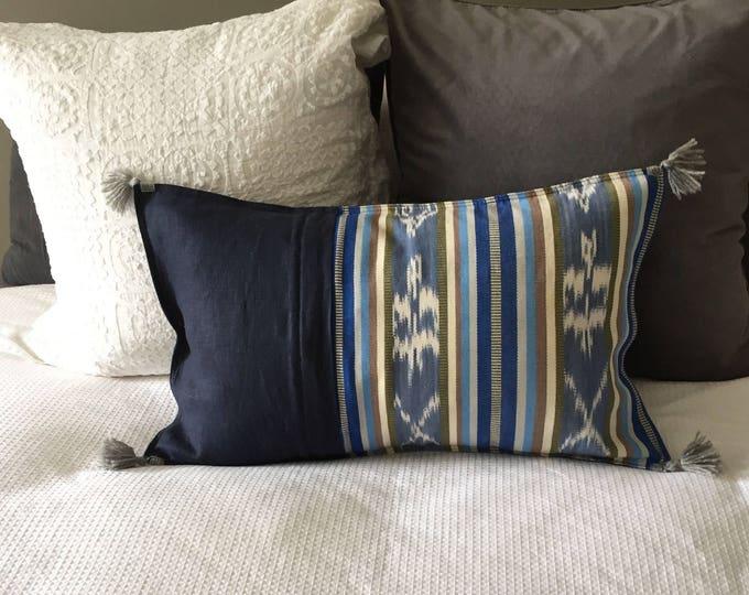 Fair Trade Artisan Blue Ikat Stripe Textile + French Navy Washed Eco Friendly Linen + Australian Merino Wool Tassels Lumbar Cushion Cover