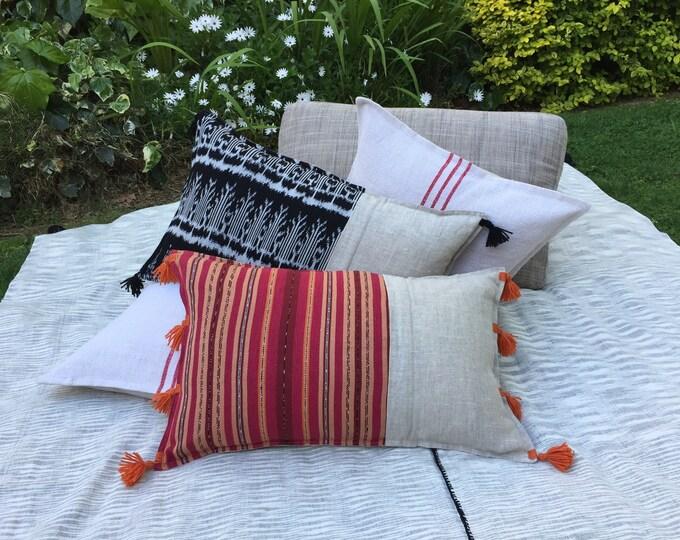 Fair Trade Artisan Lumbar Cushion Cover in Red/Orange Stripe Textile + Natural Washed Eco Friendly Linen + Australian Merino Wool Tassels