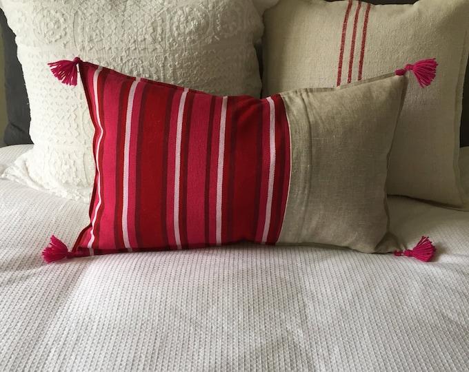 Fair Trade Artisan Red/Pink Stripe Textile + Natural Washed Eco Friendly Linen + Australian Merino Wool Tassel Lumbar Cushion