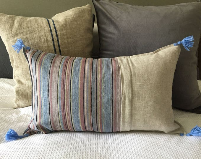 Fair Trade Blue/Taupe Stripe Textile + Natural Washed Eco Friendly Linen + Australian Merino Wool Tassel Cushion Cover
