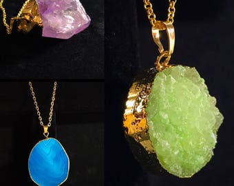 Crystal Necklace Green Purple Blue Gold Dipped Point Crystal Flat Crystal Cut Crystal