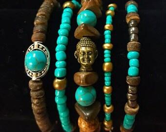 Bracelet Set Buddha Blue Art Gold Silver Howlite Zen Positivity Hippie Nature Natural