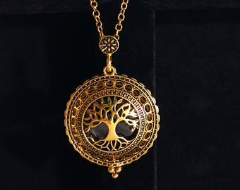 Tree of Life & Elephant Necklace with Magnifying Glass Reading Gold Beautiful Zen Lucky Good Luck