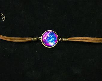 Space Nebula Stars Cabochon Earrings OR Bracelet with  Swede Straps & Lobster Claw Clasp Adjustable Purple Sky Beautiful Zen NASA Gold Rich