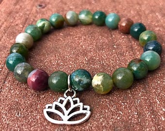 Variety Gemstone Bracelets Lotus Flower Indian Agate, Red Agate, Grey Gemstone With Real Natural Amethyst Pieces