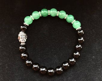 Jade Green Black Onyx Buddha Health Enlighten Bracelet Positivity