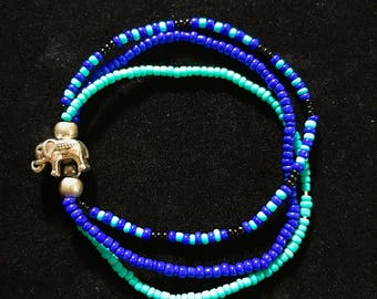 Elephant 3 in 1 bracelet set Bracelet Blue Elephant good luck Amazon Hipster Blue and Black Luck