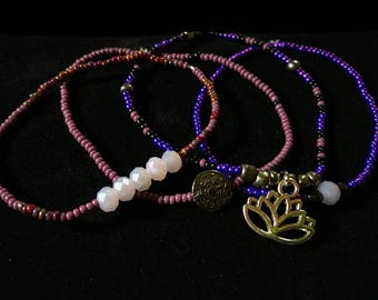 BRACELET SET lotus flower purple silver beads charms Mandala