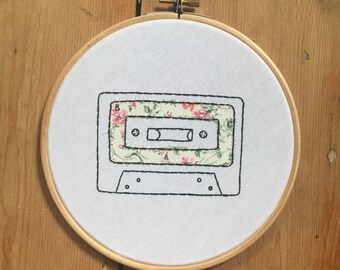 Appliqued B Side Cassette Tape Embroidery Hoop
