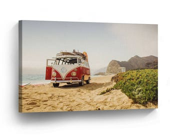 1a6a48b188 Classic Volkswagen Van Red Sea Side Canvas Print Home Decor   Camper   Old  Vintage Bus   Wall Art Gallery Framed  Ready to Hang
