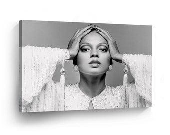 1775a1b8d94 Diana Ross in Fancy Dress Black and White Pop Art Canvas Print Photo Wall  Art Home Decor Artwork Prints Stretched Frame Framed-Ready To Hang