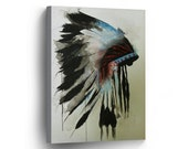 Indian Art Native American Chiefs Headdress Feathered Watercolor CANVAS PRINT Indian Decor Decorative Wall Art Stretched and Ready to Hang