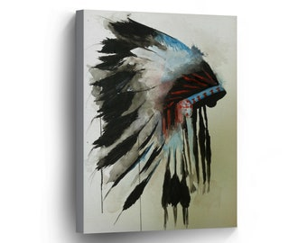 60a51e19000 Indian Art Native American Chiefs Headdress Feathered Watercolor CANVAS  PRINT Indian Decor Decorative Wall Art Stretched and Ready to Hang
