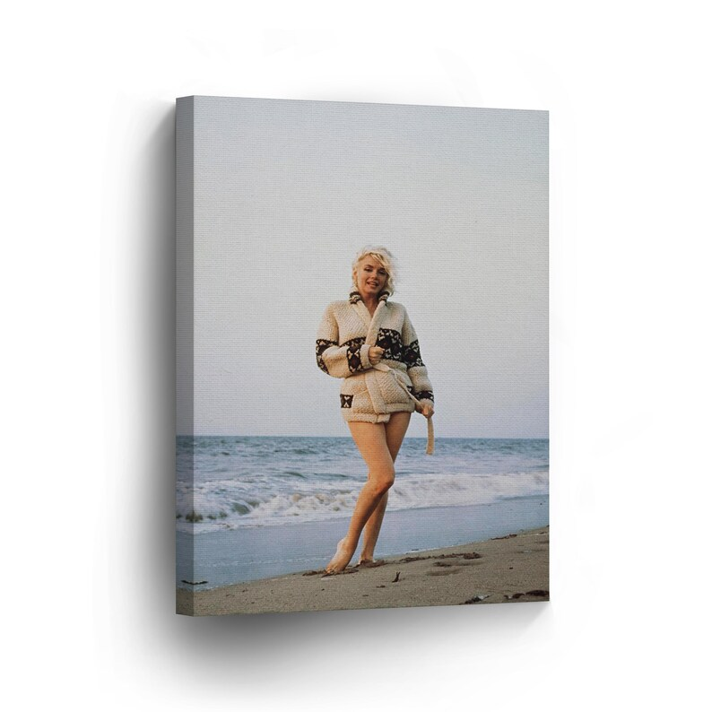 0b47abb71660 Marilyn Monroe Wall Art at the Beach in Cardigan CANVAS PRINT | Etsy