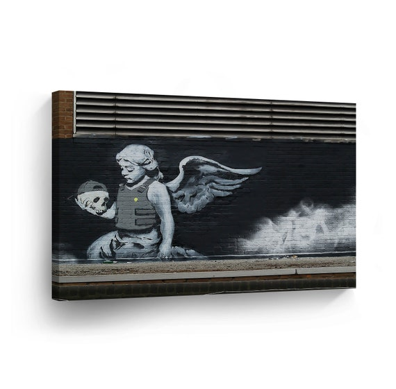 BANKSY FALLEN ANGEL BLUE GRAFFITI BOX CANVAS PRINT ART