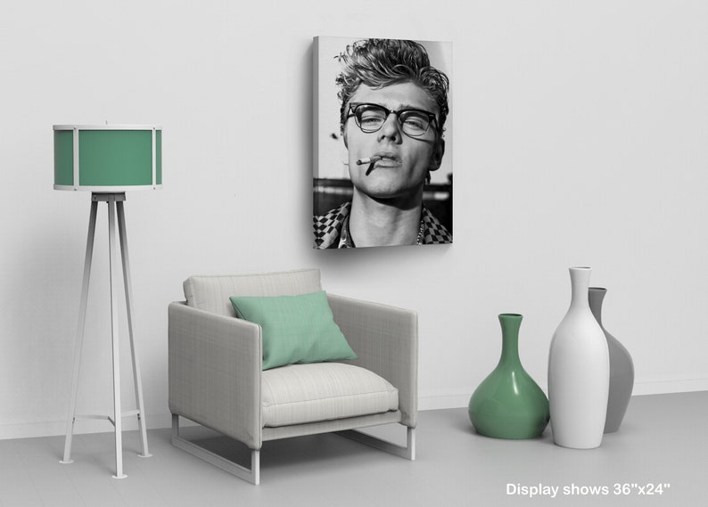 07aa37dd0e James Dean Smoking with Sexy Glasses Black and White Wall Art